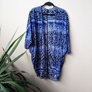 Cotton On Blue Patterned Kimono Cardigan size M